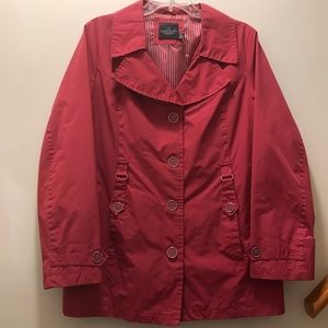 Berry colored Spring/Rain Coat. Size Large